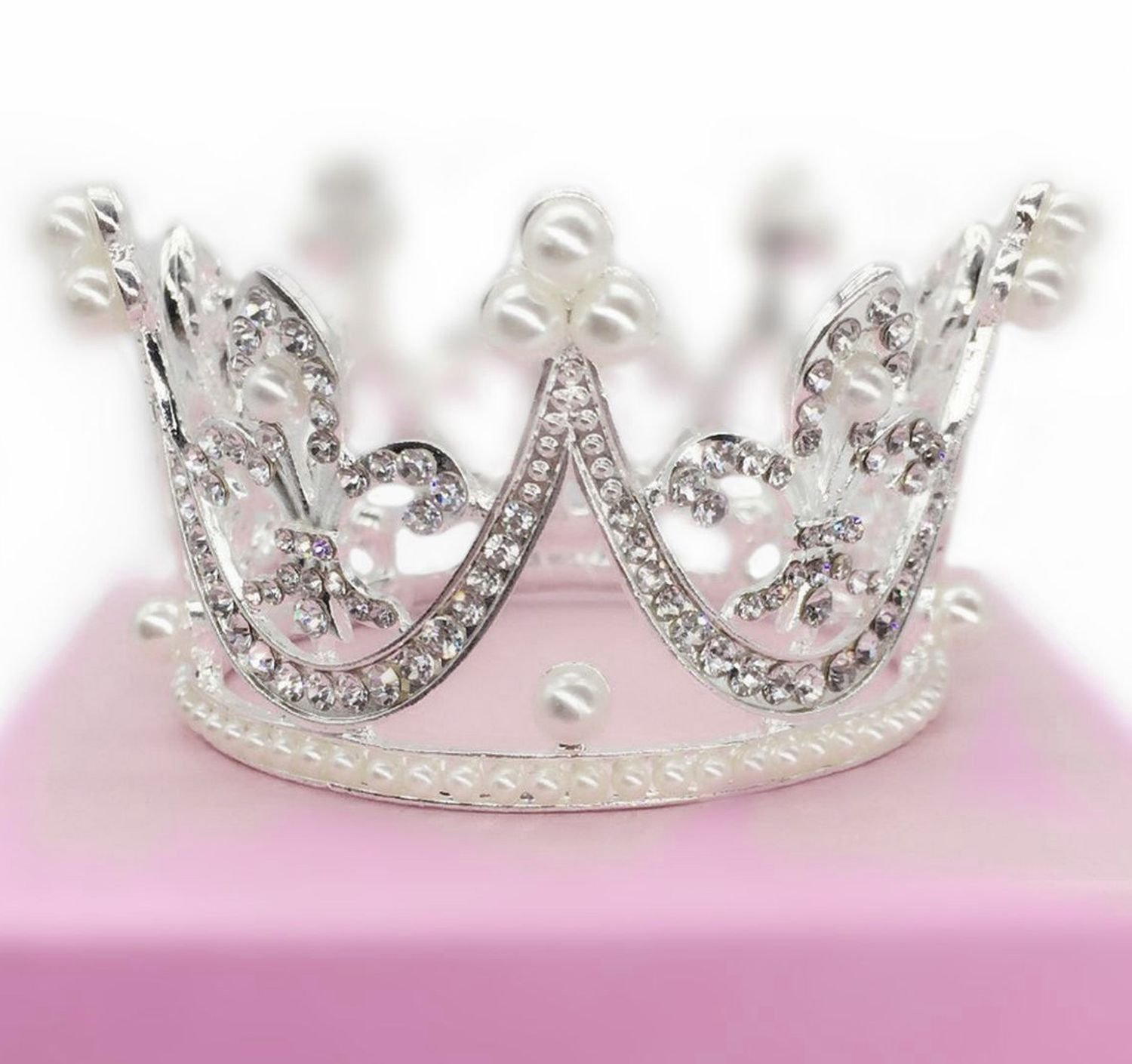 Round Mini Rhinestone Crown Pearl Crystal Princess Crown Bridal Wedding Newborn Baby Crown Silver