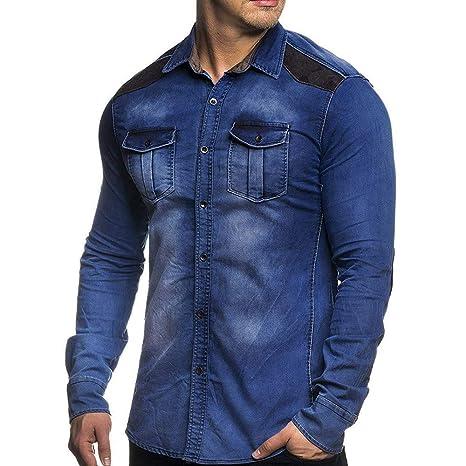 LILICAT Hombres Otoño e Invierno Retro Camisa de Mezclilla Apenada Camisa Botón Bolsillo Camisa de Mezclilla