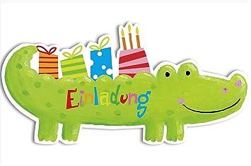 Außergewöhnlich Einladung Kindergeburtstag Krokodil 6er Set