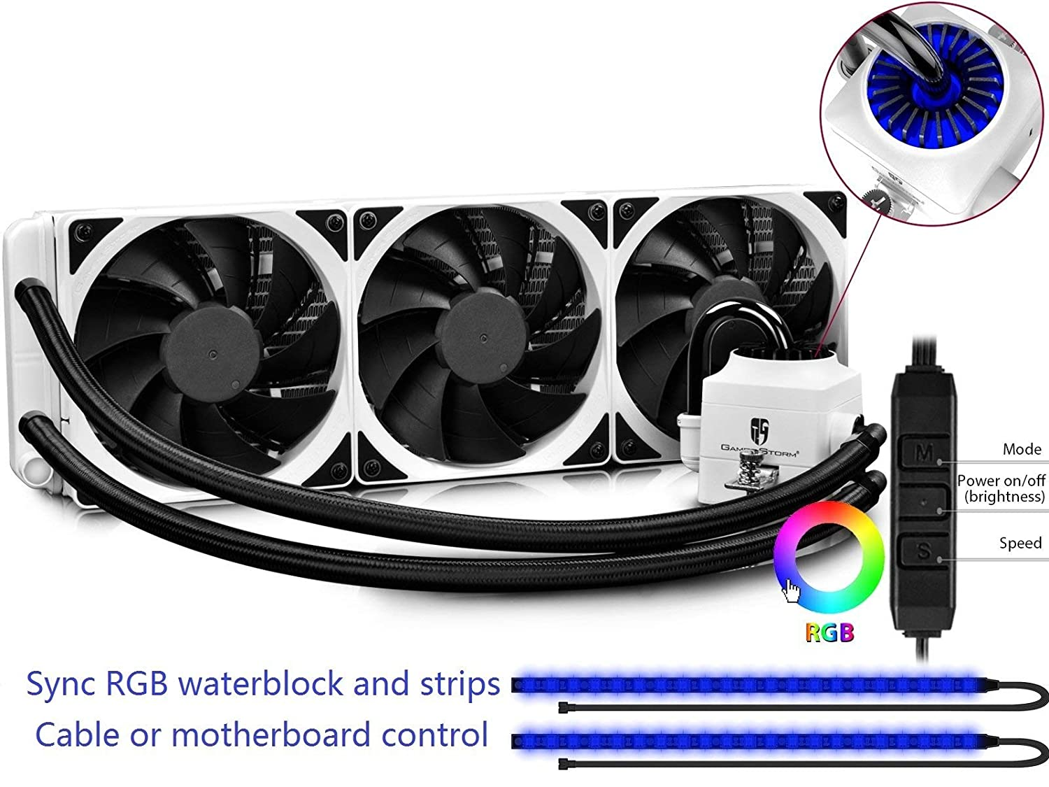 DEEPCOOL Captain 360EX RGB White, AIO Liquid CPU Cooler, Synchronous RGB Waterblock and 2 LED Strips Controlled by Cable Controller or Motherboard, 3×120mm PWM Fans, AM4 Compatible, 3-Year Warranty