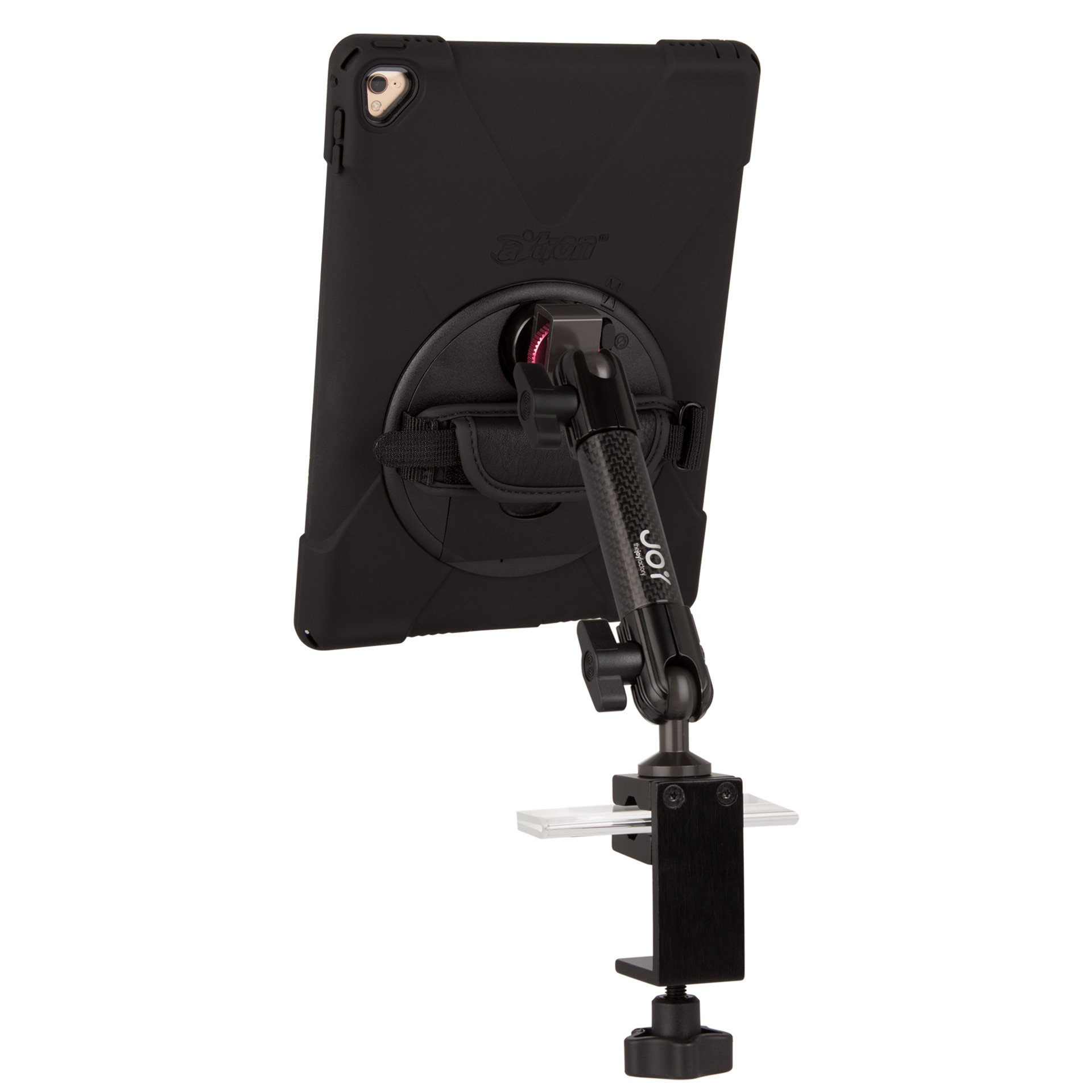 The Joy Factory MagConnect Carbon Fiber C-Clamp Mount with aXtion Bold MP Water-Resistant Rugged Shockproof Case for iPad 9.7 5th Gen, Built-In Screen Protector, Hand Strap, Kickstand (MWA602MP)