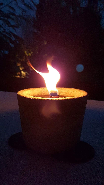 Beton Kerzenschmelzer mit Muster-Outdoor-Partylicht-Gartenfackel-ca Der Perlenspieler/® 14 cm x 15,5 cm