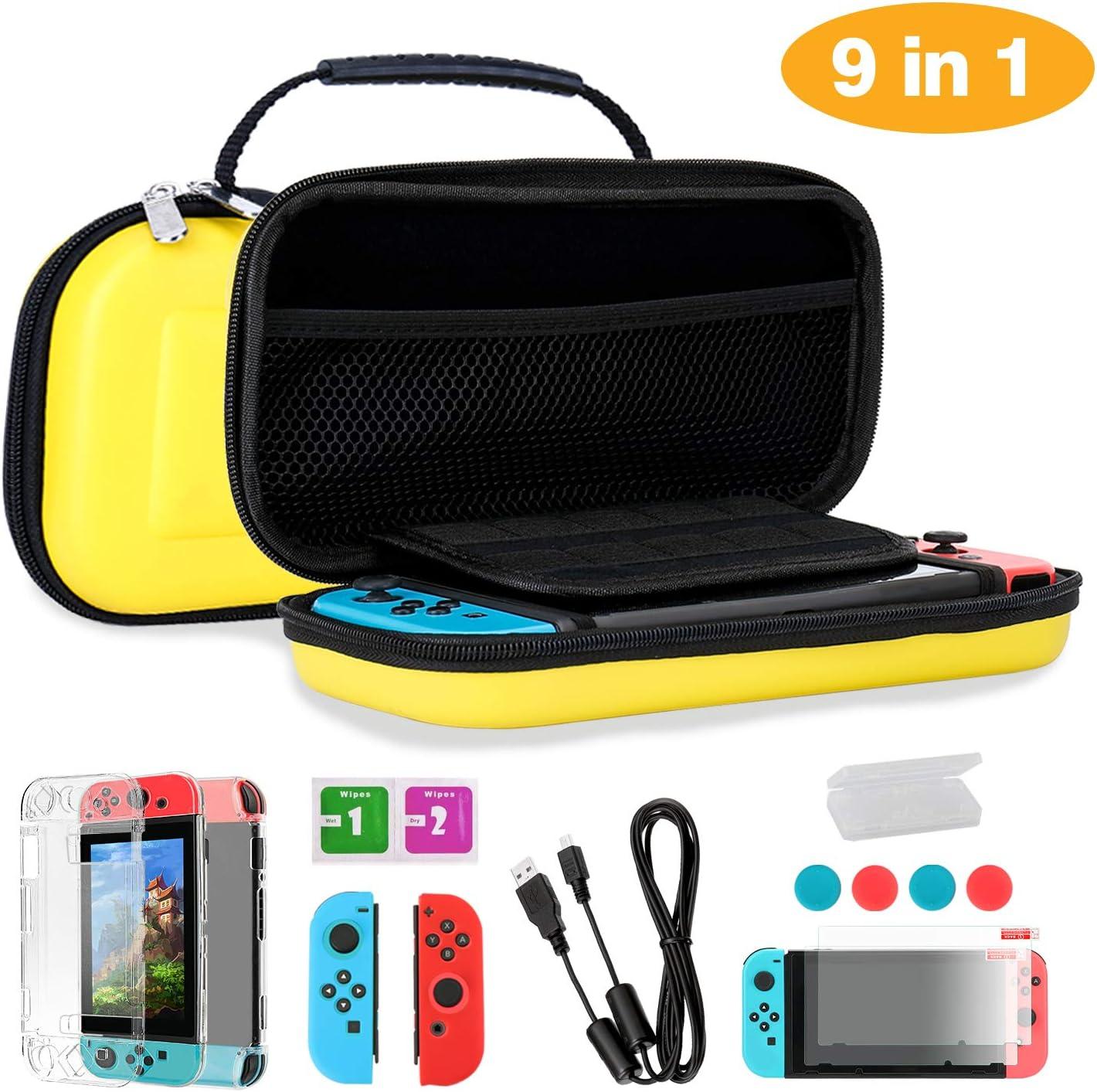 TKOOFN Fundas & Accesorios 9 en 1 Kit para Switch, EVA Estuche + 2 Fundas para Joy-con + 2 Protectores de Pantalla + Estuche Protector + 4 Tapones de Pulgar + Cable USB + Caja de Tarjetas: Amazon.es: Electrónica