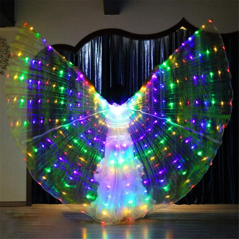 Adult Belly Dance Wings LED 360 Grad Engel Isis Wings Bauchtanz Kost/üm Mit Teleskopsticks F/ür Halloween Christmas Party Stage Performance Kleidung