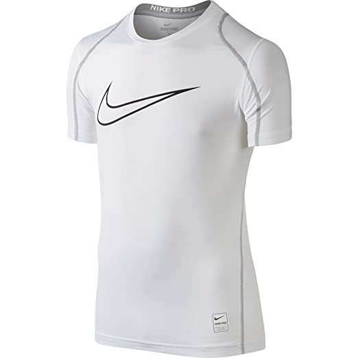 322d31266 Nike Boys' Pro Fitted HBR Short Sleeve Shirt, White/Matte Silver/Black