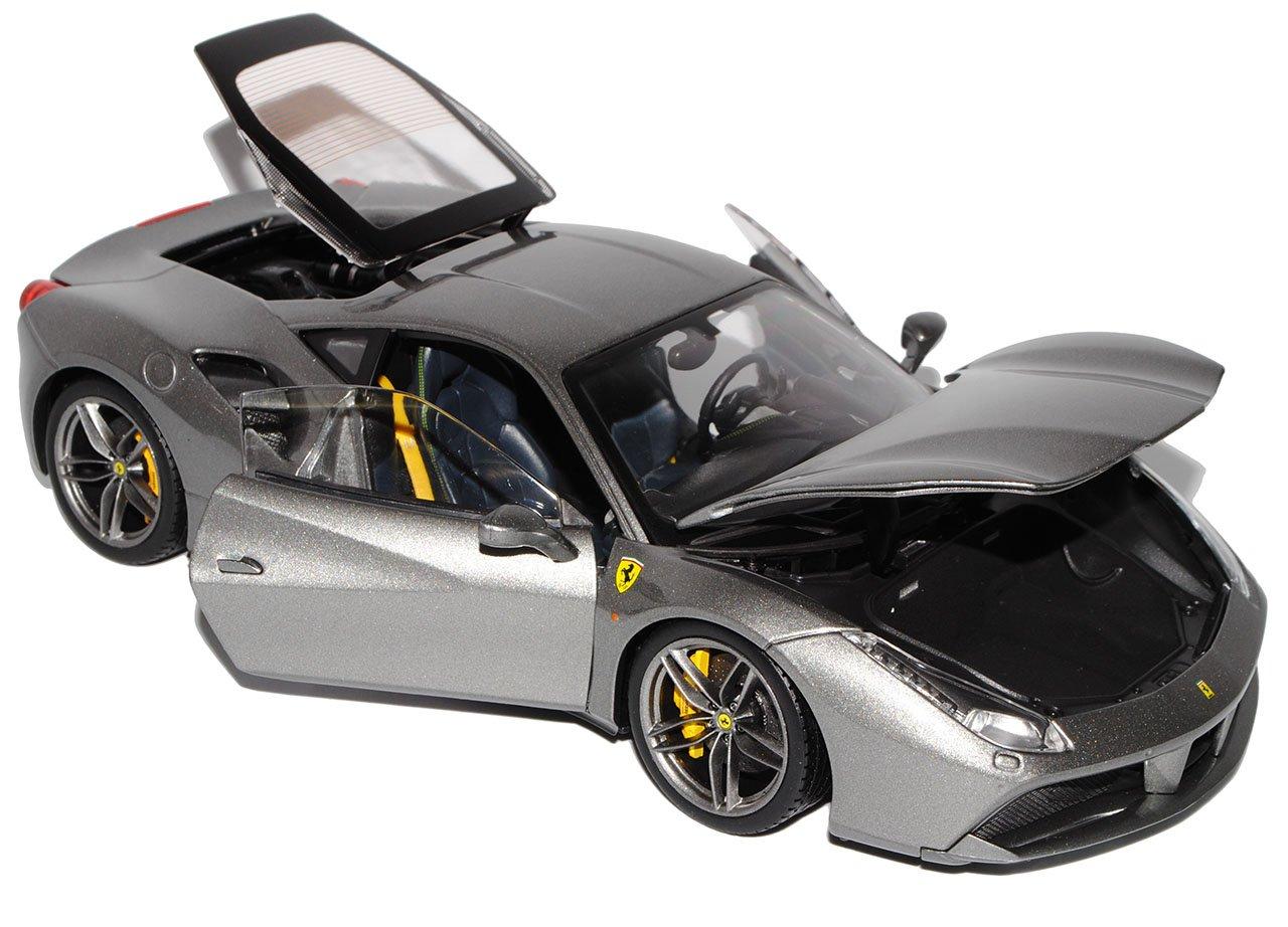 Bburago Ferrari 488 GTB Coupe Ab Grau Ab Coupe 2015 Signature Serie 1/18 Modell Auto mit individiuellem Wunschkennzeichen eef543