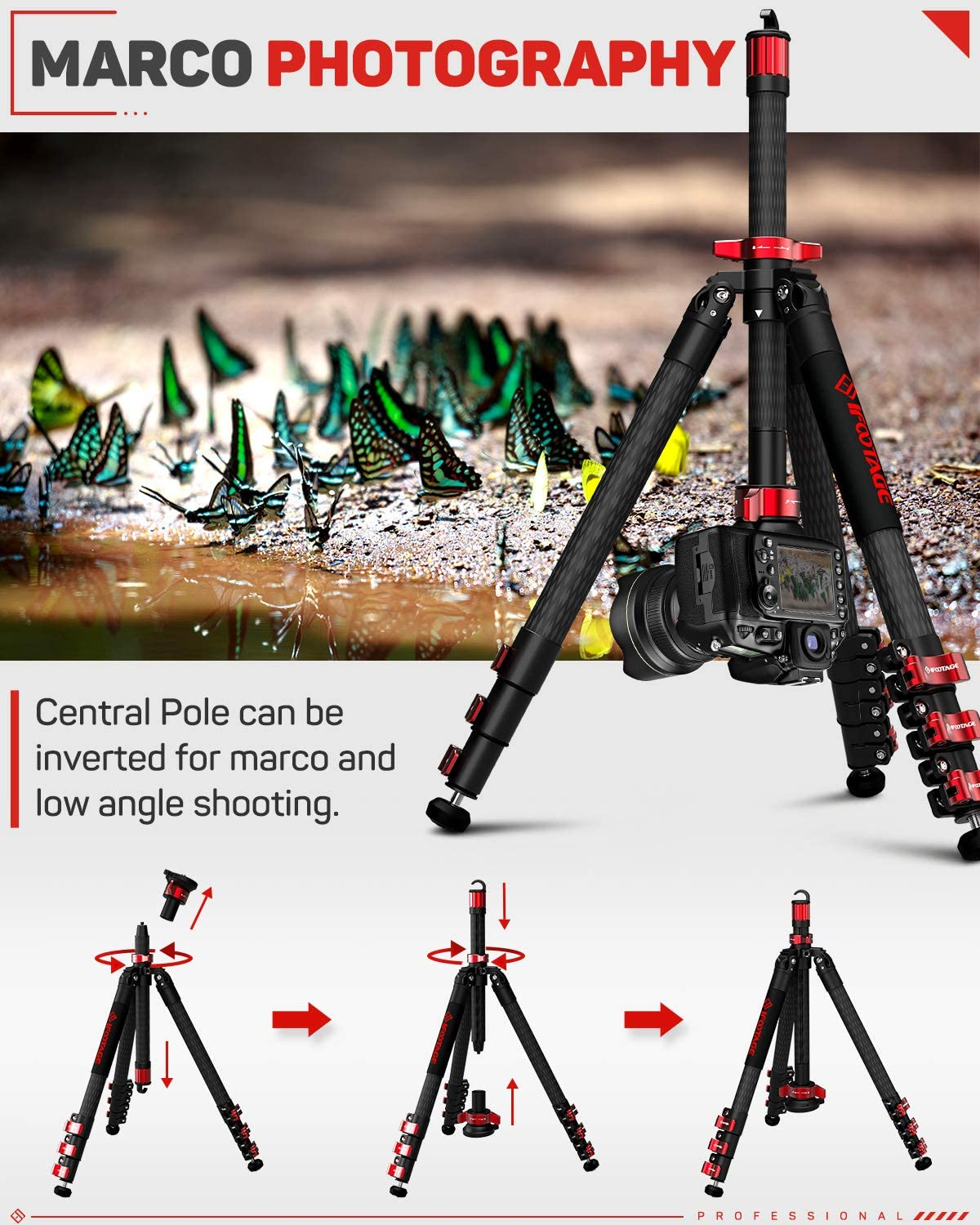 Compatible with Canon Sony DSLR Camcorder Video Photography IFOOTAGE 65 Carbon Fiber Video Tripod Nikon Professional Camera Tripods 3 Sections with Centre Pole,Max Load 17.6 lbs