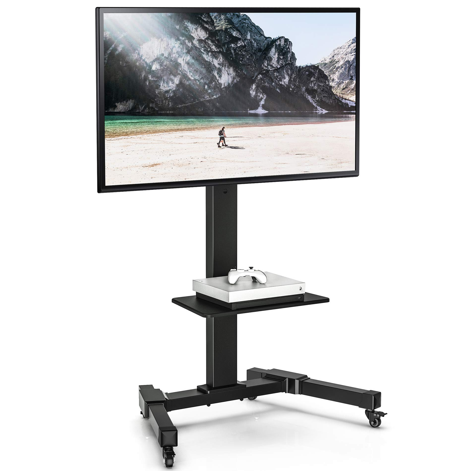 FITUEYES Mobile TV Stand Trolley Height Adjustable for 32 to 70 Inch LCD LED Plasma Flat Screen Rolling TV Cart with Swivel Mount and Locking Wheels, TC208701 by FITUEYES