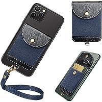 COCASES Korthållare för telefon, PU-läder telefonplånbok fodral ultrasmal fäste på korthållare ficka ficka med avtagbar…