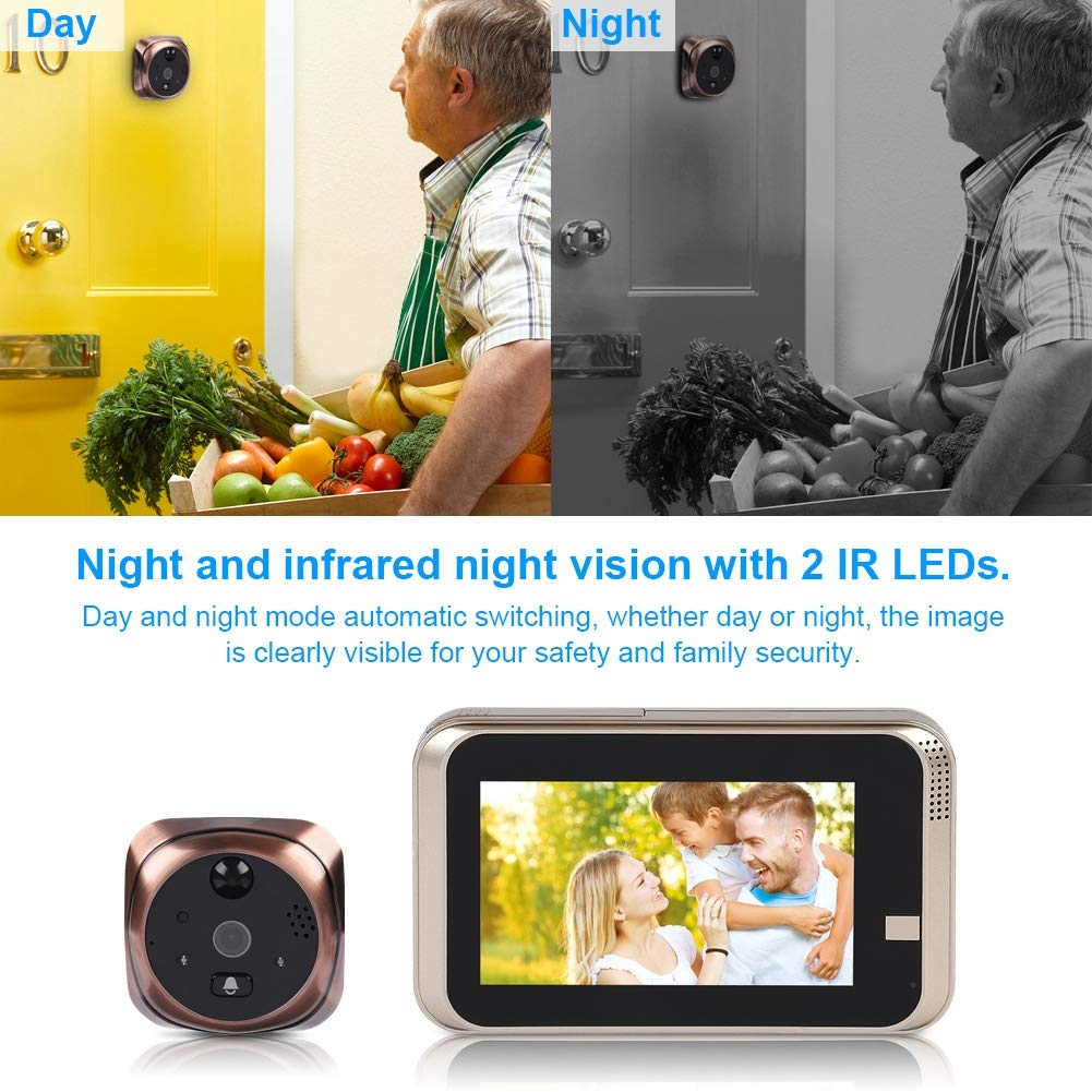 4.3'' LED Digital Peephole Door Viewer 720P Smart Vision Door Camera Monitor Indoor Viewer IR Night Vision Motion Detection Noise Cancellation 166 Degrees Wide Angle WiFi - iOS, Android, Mac by Sonew (Image #3)