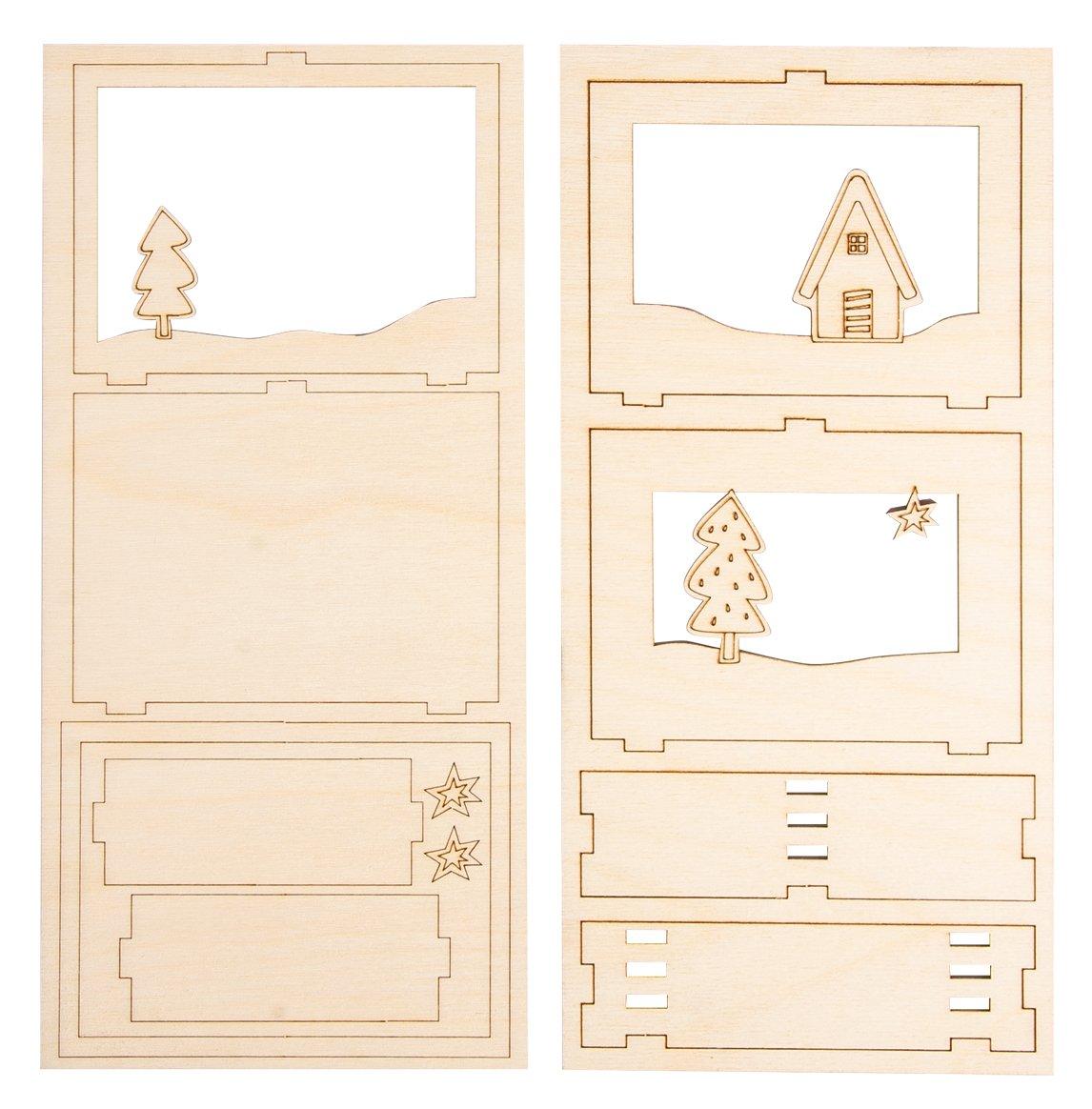 Nature FSC 100/% Rayher 46301000 Kit bois Cadre /à motifs 3D For/êt 15 Pi/èces
