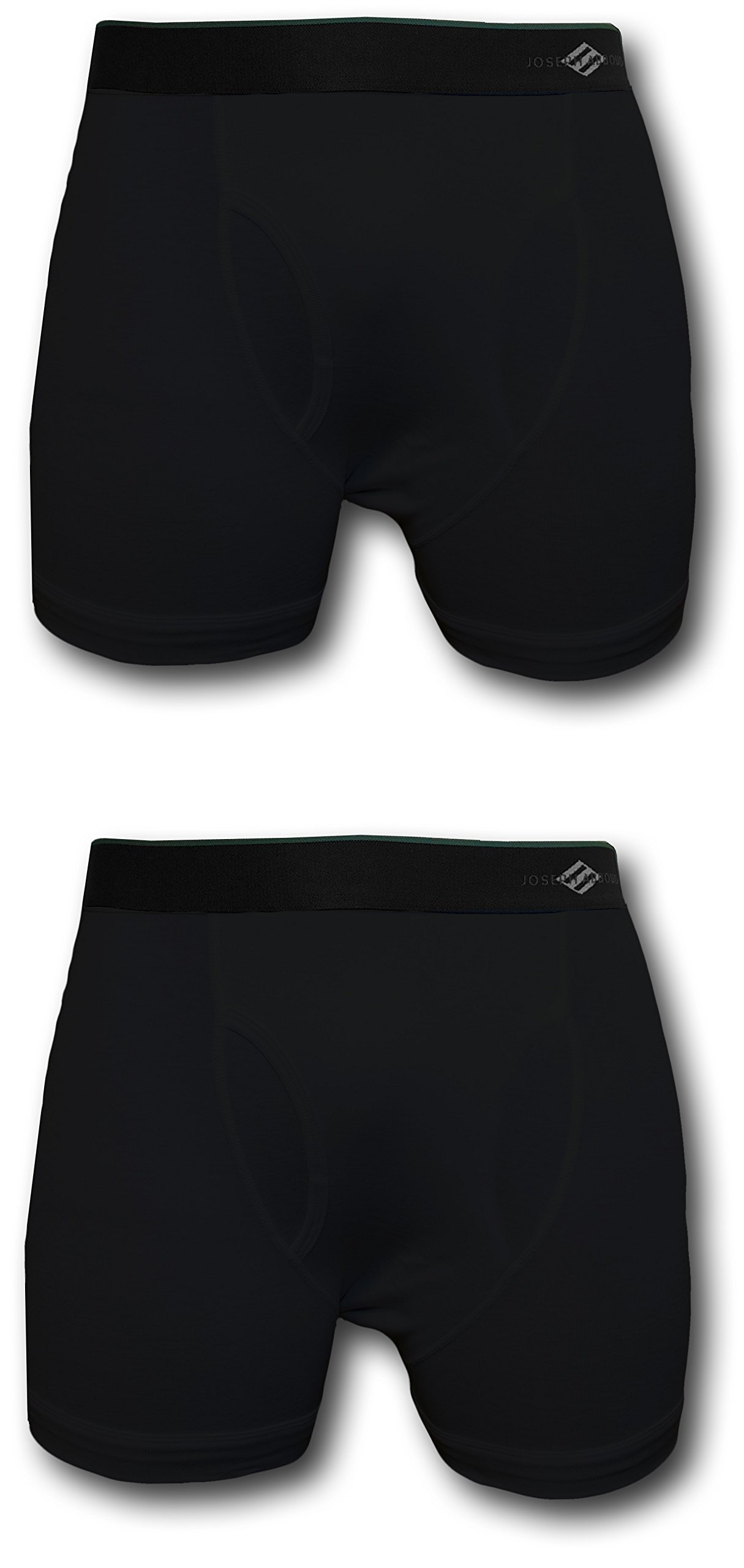 Joseph Abboud Men's 2 Pack Cotton Boxer Briefs (S (28-30), Black)