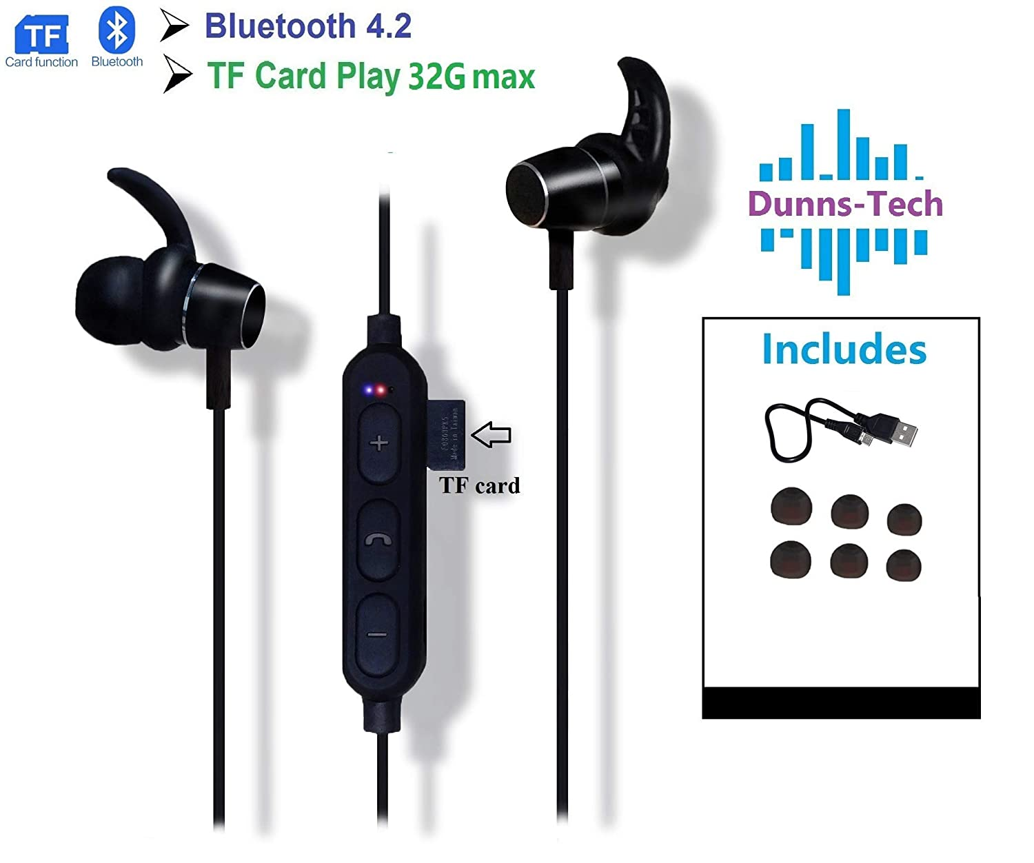 Wireless Bluetooth Sports Fitness Headphones V4.2, TF Card (Micro-SD) Slot for Playing Songs | Suitable for Music or Phone Calls During Activities (Black)