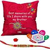 Indigifts Crystal Rakhi with Micro Satin Printed Cushion Cover with Filler and Roli and Chawal for Brother (12x12-inch)