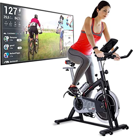 Sportstech Bicicleta Estática | Bicicleta Fitness con Volante de 22 kg - Eventos en Video & App Multijugador, Incl. eBook - Compatible con Pulsómetro ...