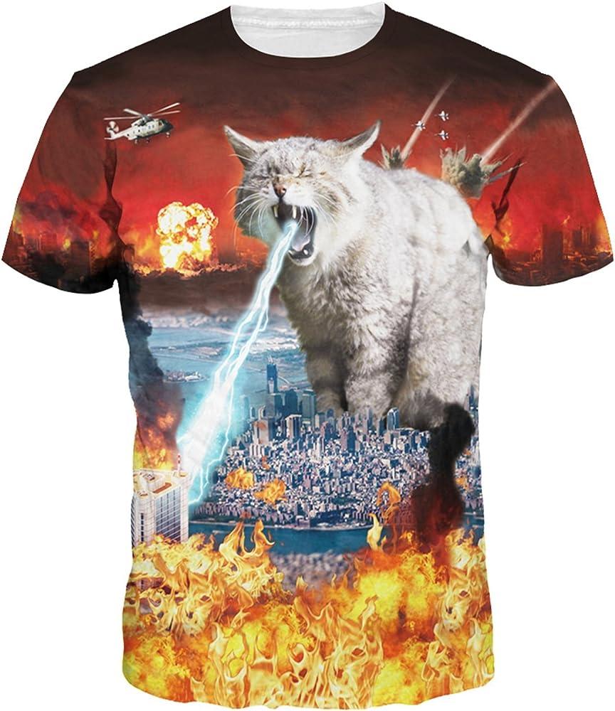 Mixta Camiseta Animal del Gato Camisa De Fuego 3D Impreso Generosa Manga Corta Camiseta: Amazon.es: Ropa y accesorios