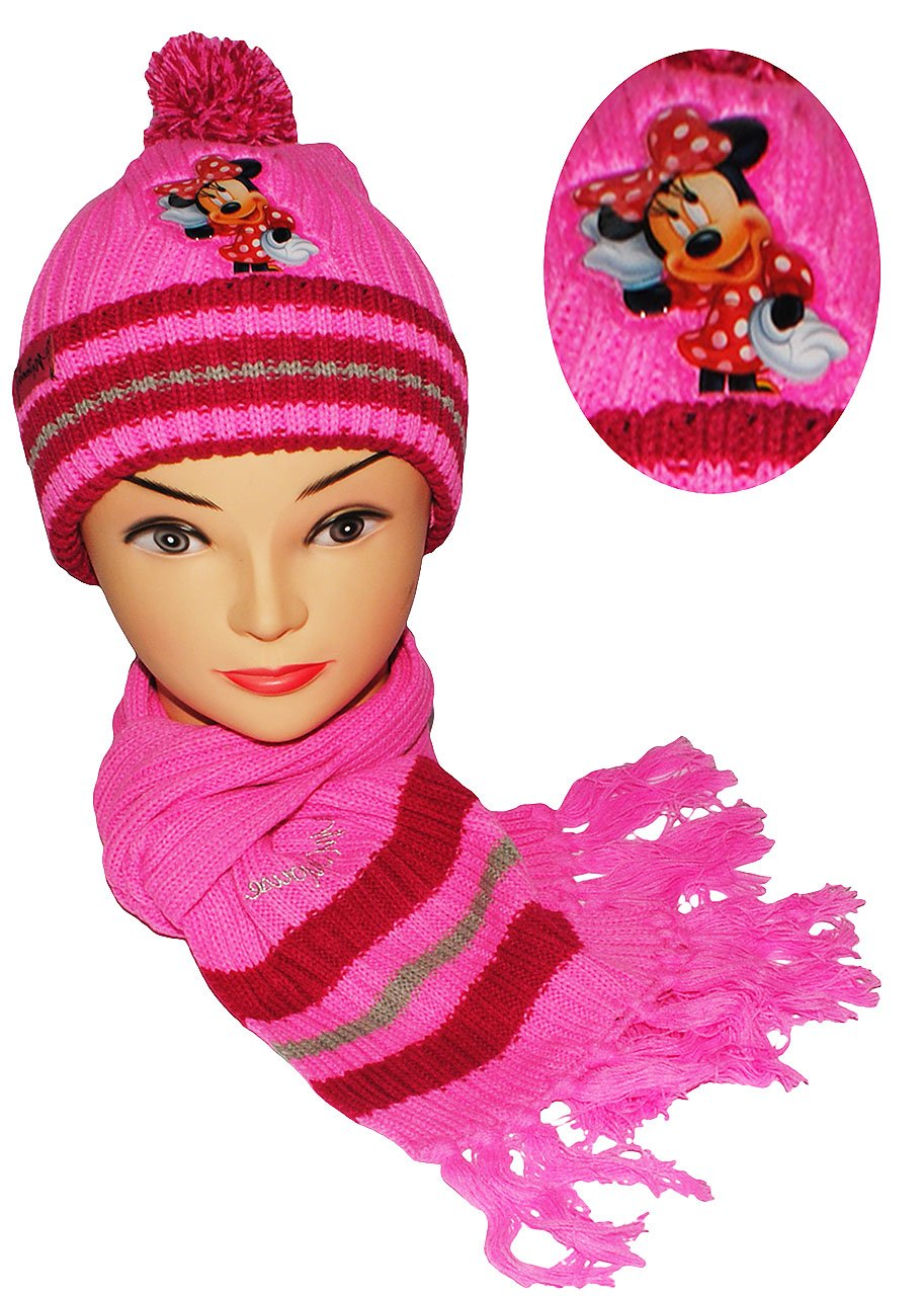 2 tlg. Set: Mütze + Schal -  Disney Minnie Mouse  - für Kinder - 2 bis 8 Jahre - Mädchen - Schalset / Winterset - Strickmütze - Beanie - Maus / Playhouse - rosa pink - Strickschal Bommelmütze Kinder-land