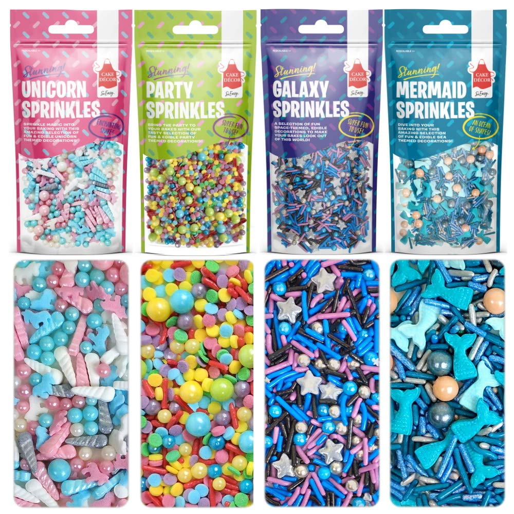 Unicorn, Rainbow, Galaxy & Mermaid Themed Sprinkles | 200g Variety Pack | Fun, Edible & Colourful Stunning Sprinkles Mixes | Resealable & Recyclable Pouches (Variety Pack 200g)