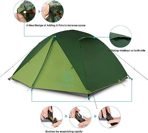 Gonex Tente de Camping 1-2 Personnes,Tente D/ôme 4 Saisons Coupe-Vent Imperm/éable Anti UV Installation Facile pour Pique-Nique,Randonn/ée,Camping 210x150x120cm