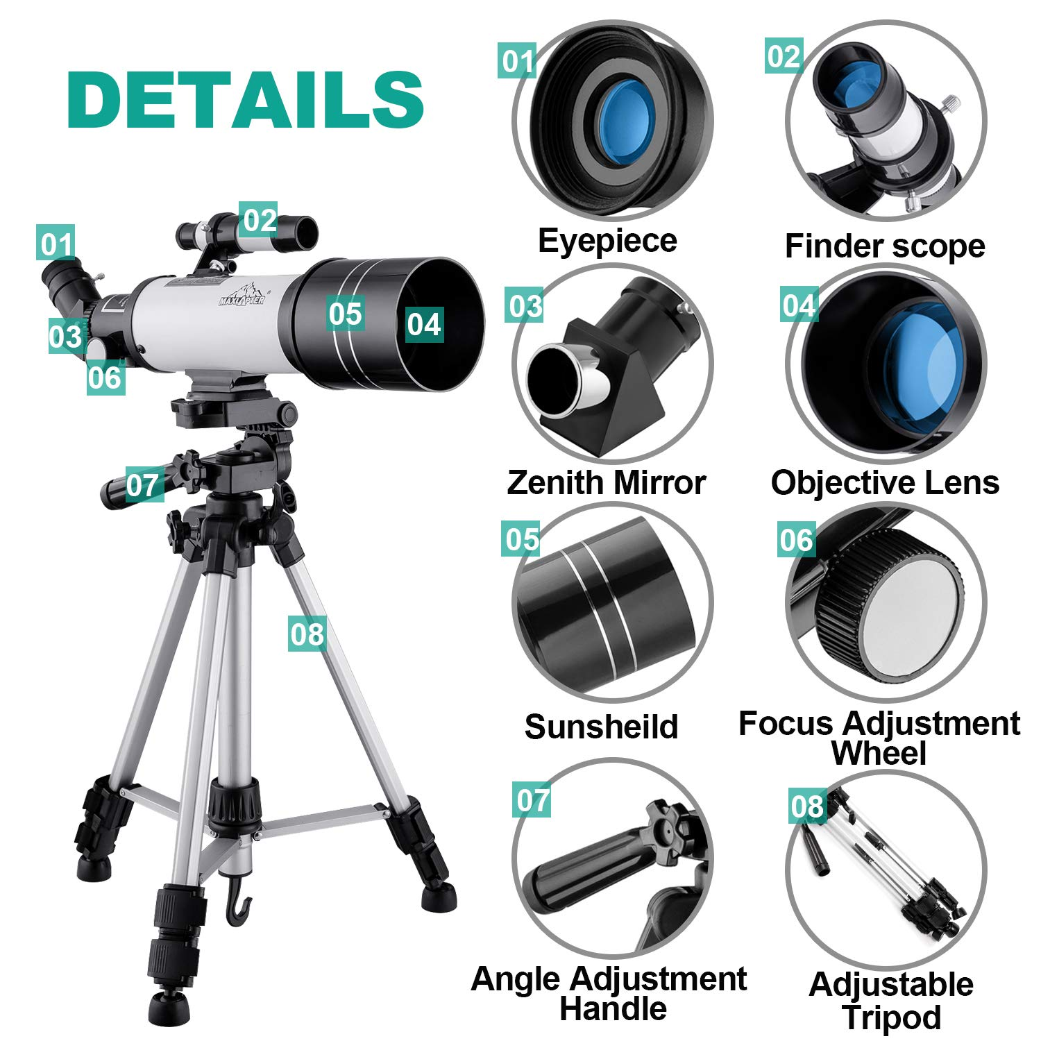 MAXLAPTER Telescope for Kids and Beginners, 70mm Travel Refractor Telescope for Astronomy with Adjustable Tripod, Smartphone Adapter, Camera Shutter Wire Control, Backpack by MAXLAPTER (Image #2)