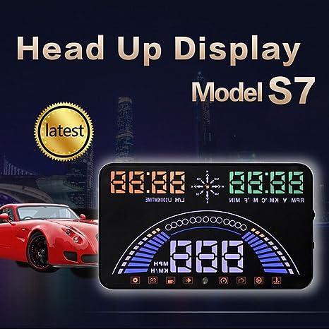 "5.8/"" Universal OBD//GPS S7 HUD Car Head-Up Display Digital Alarm Auto HUD system"