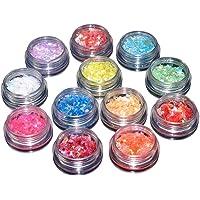 12 Colors Gel Nail Art Décor Nail Glitter Ice Mylar Shell Foil Slice Sequins Sheet Tips