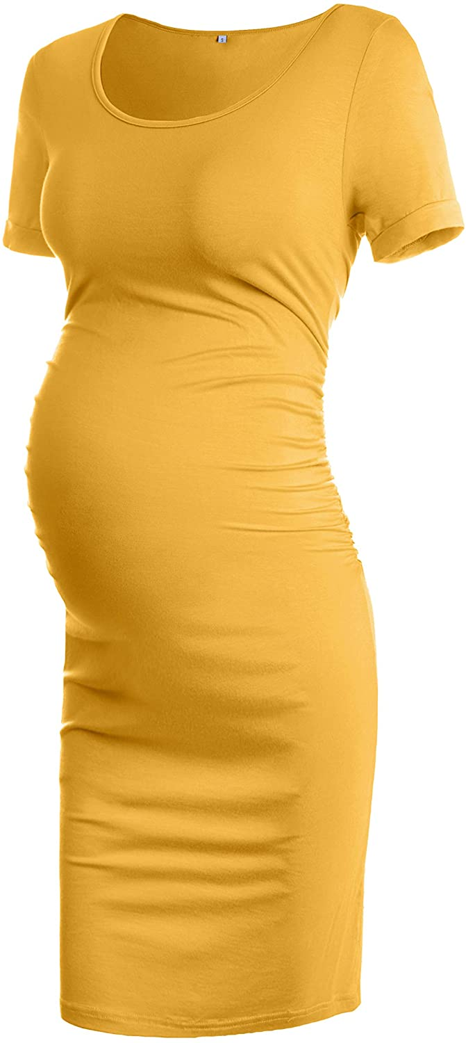 Musidora Maternity Dresses Summer Casual Ruched Sides Bodycon Dress for Daily Life or Baby Shower