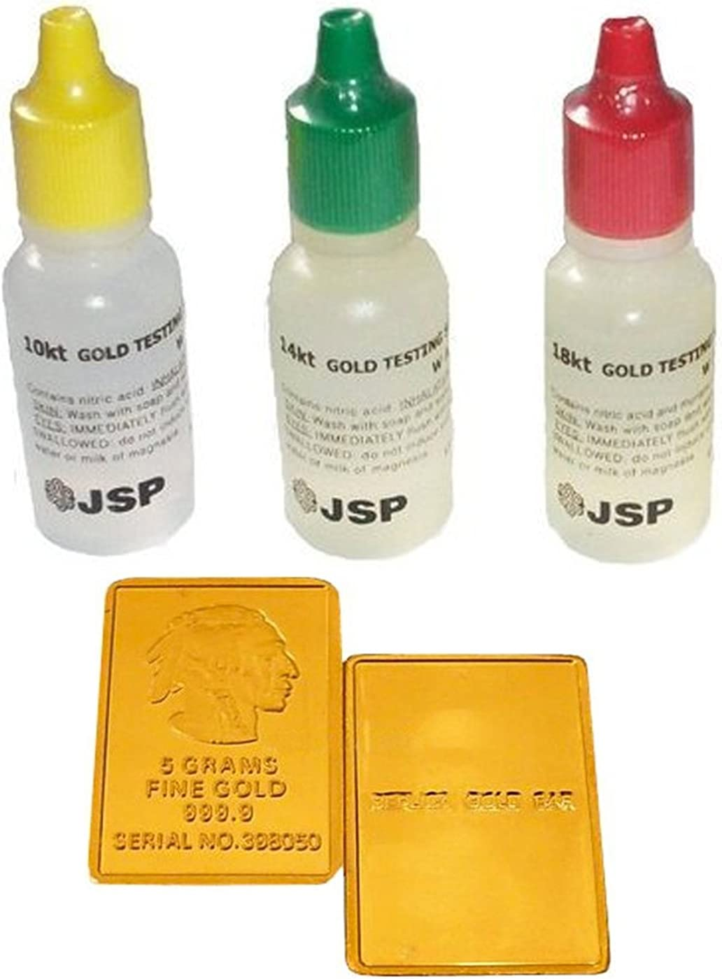Fake Gold Bar Samples JSP Gold Test Acid Tester Kit 10k 14k 18k Testing Detect Metals Scrap Jewelry