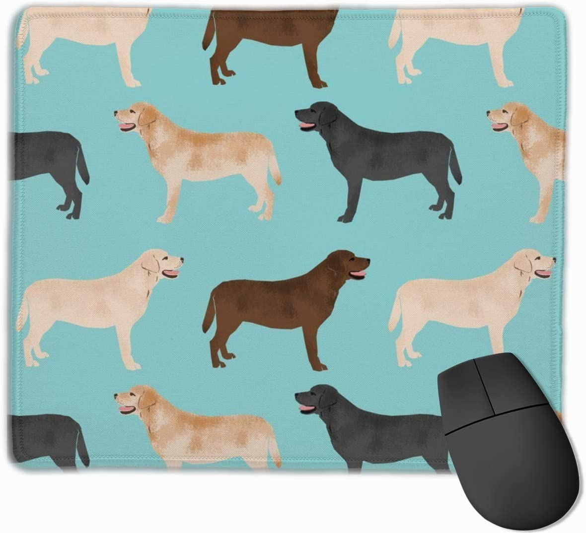 Cute Labradors Yellow Chocolate Black Lab Pet Dogs Mouse Pad Mat with Non-Slip Rubber Base - Gaming Computer Laptop Mousepad for Home Office 9.8×11.8 in