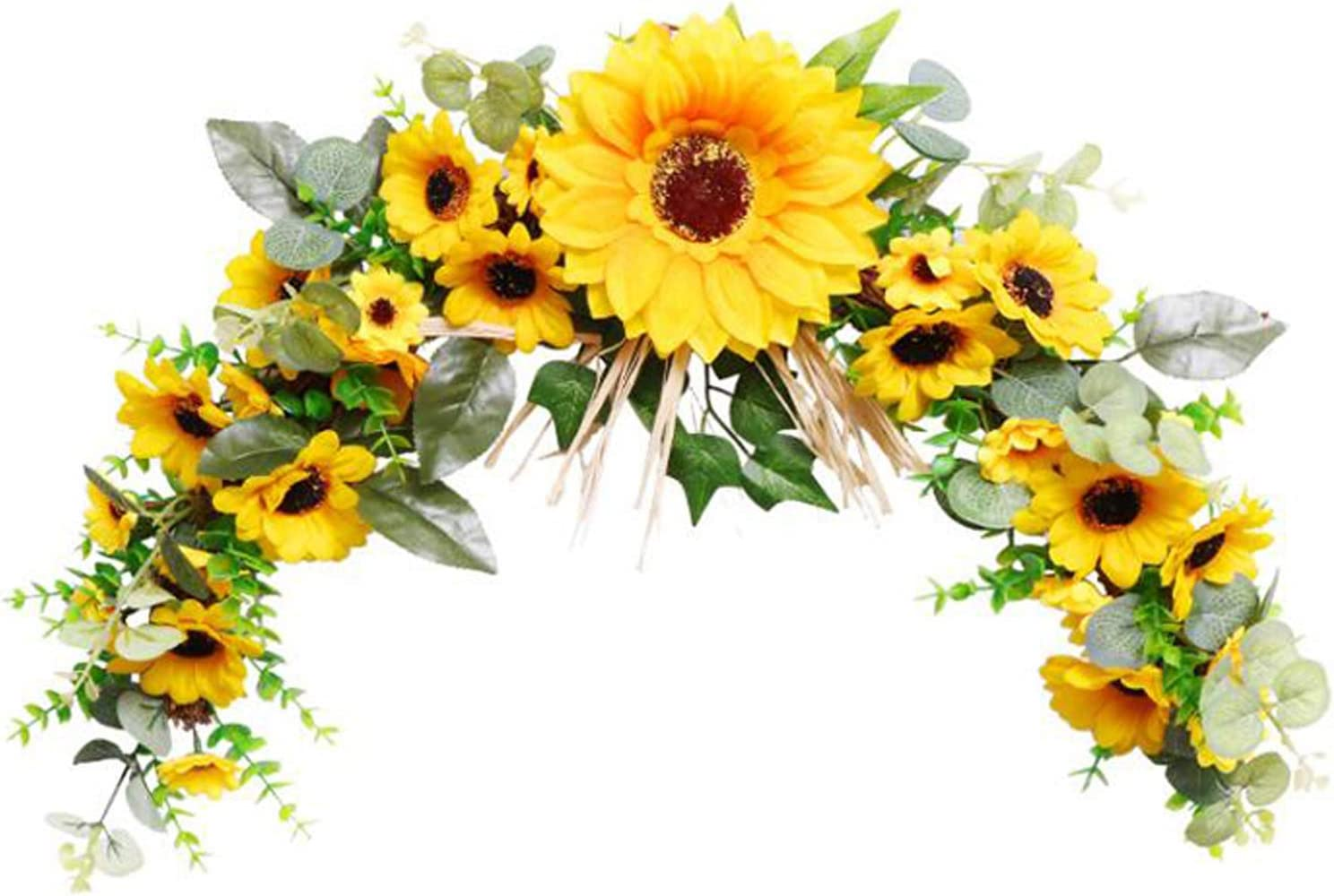 GWOKWAI Artificial Sunflower Swags for Front Door Decor, Wall Hanging Sunflower Flower Wreath for Home Arch Door Wall Office Wedding Decor