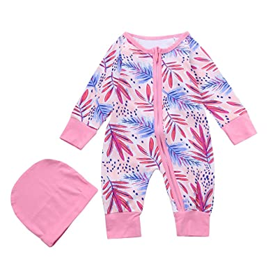 f9fa08d0c Amazon.com  Baby Girls Winter Long Sleeve Leaves Print Romper ...