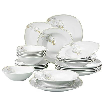 Amazon VEWEET 40Piece Ceramic Dinnerware Set Ivory White Adorable Patterned Dinnerware Sets