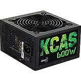 Aerocool KCAS600S - Fuente de alimentación gaming para PC (600 W, 12V, PFC Activo, ventilador silencioso 12 cm, 80 Plus Bronze, eficiencia + 85%, PSU), color negro