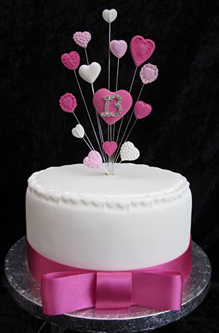 13th Birthday Cake Topper Pinks And White Hearts Suitable For A Small Or Cupcake