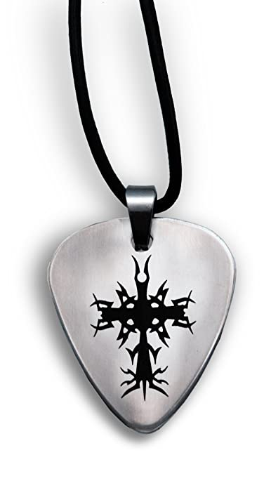 Guitar pick pendant with cross amazon guitar pick pendant with cross aloadofball Gallery