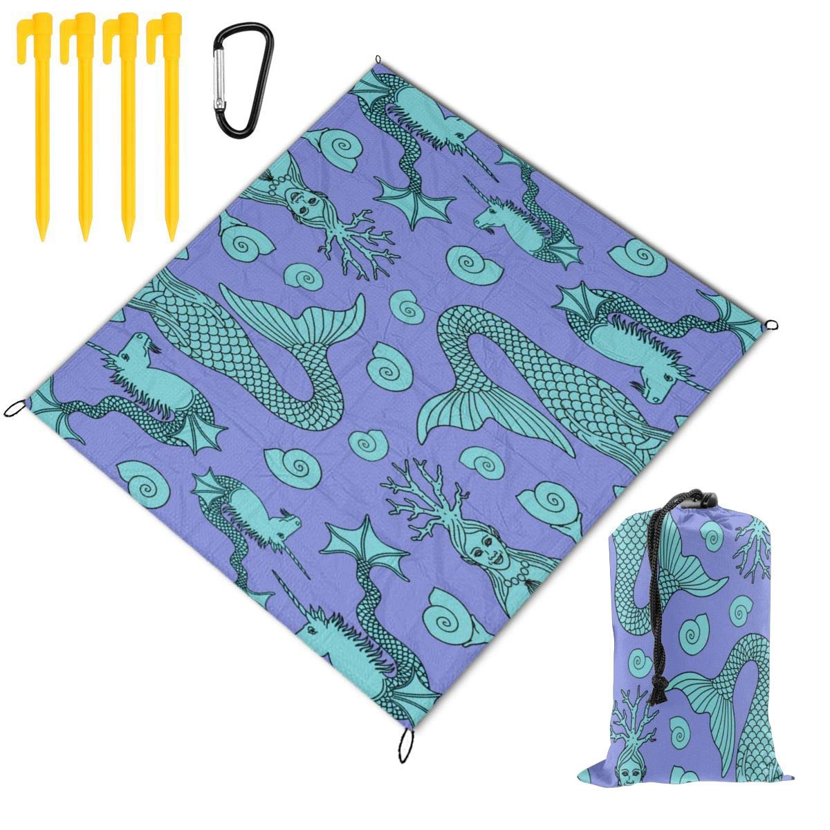 FunnyCustom Picnic Blanket Portable Waterproof Unicorns and Mermaids Purple Picnic Mat for Beach Camping 79 x 57 Inch