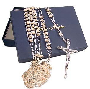 Cream Acrylic Prayer Bead Wedding Ladder Lasso Rosary for