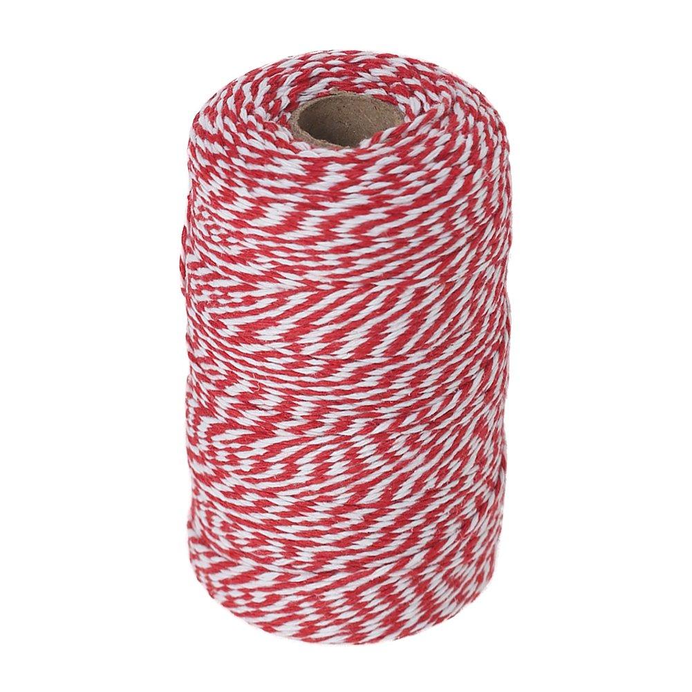 Vivifying Boulanger Rouge et blanc, 656 Pieds Coton Cordes pour DIY travaux manuels, cadeau de Noë l cadeau de Noël