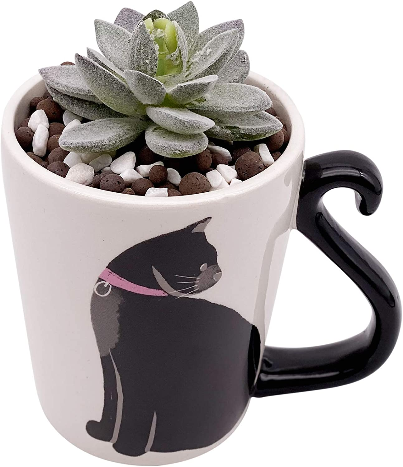 DIY Artificial Succulent with Planter Pot and Ceramsite - Cute Ceramic Animal Cat Planter Pot- Home Office Decoration Gift(5.94.92 inch)