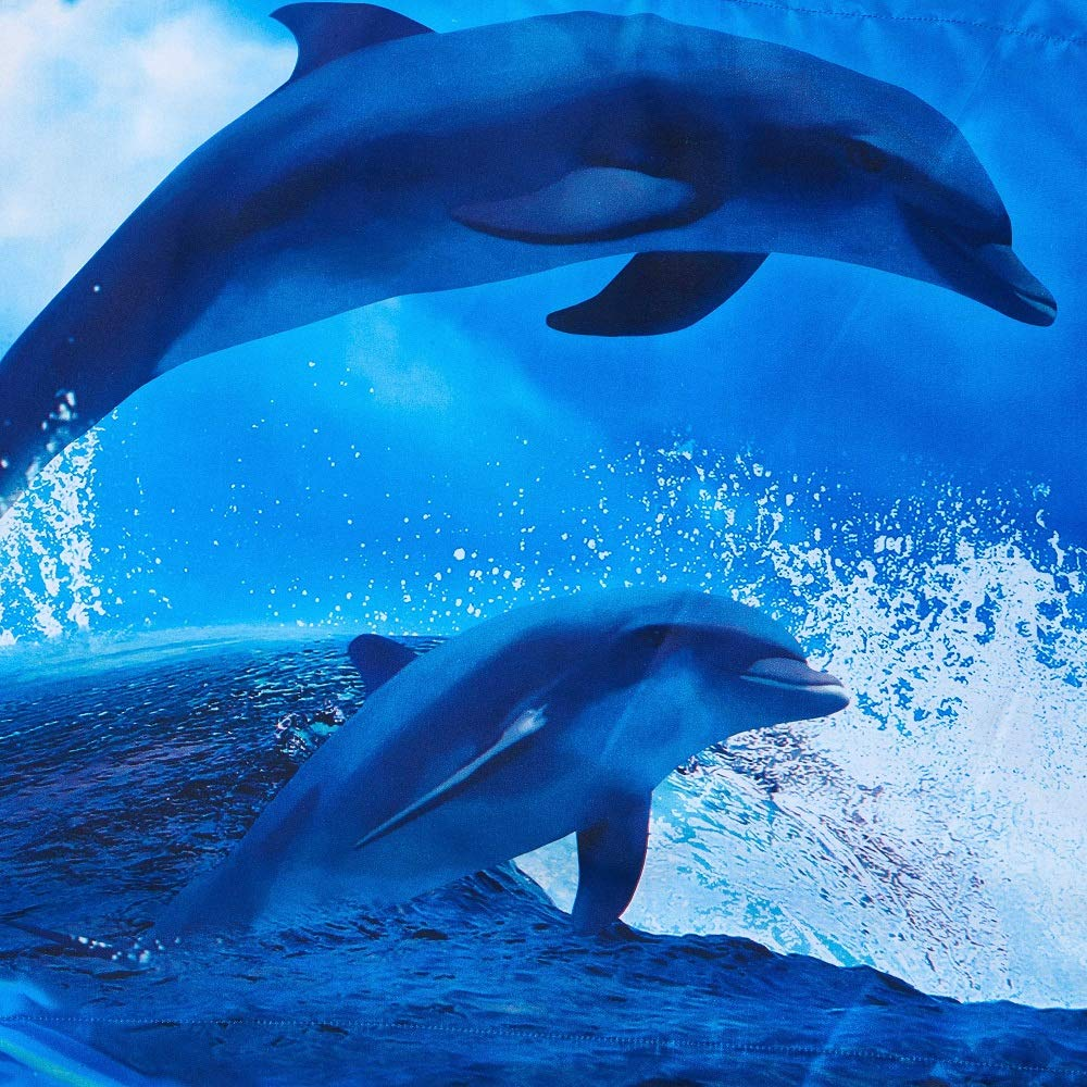 Cozyvie Dolphins Jumping out of Blue Water Print Polyester 3D Bedding Set with Duvet Cover,Flat Sheet and Pillowcases,Twin//Full//Queen Size,Blue,No Comforter Extra Long Twin Babycare Pro 10938041