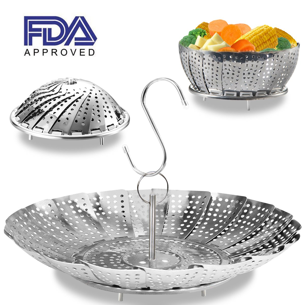 Steamer Basket - 100% Stainless Steel Vegetable Steamer Basket for Instant Pot Accessories, Steam food with Folding Steamer Basket, Expandable for Fit Various Size Pot