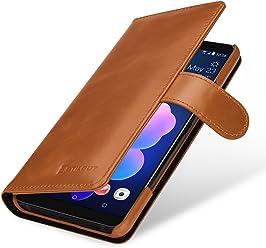 StilGut Housse pour HTC U12+ Porte-Cartes en Cuir véritable à Ouverture latérale et Languette magnétique, Cognac