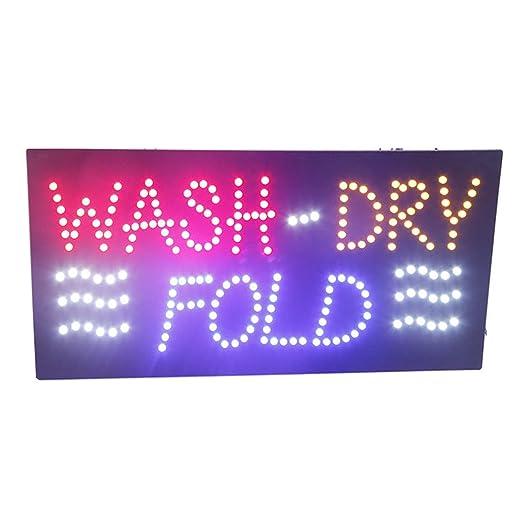 Amazon.com: Letrero de luz LED para lavandería, pizarra de ...