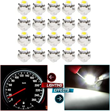 10x T5 B8.4D 5050 1 SMD Car LED Dashboard Dash Instrument Indicator Lights Bulbs