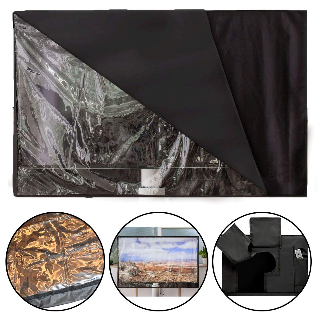 Justdolife Outdoor TV Cover Universal Waterproof Clear Visible TV Protector TV Screen Cover