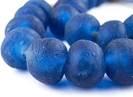 Jumbo Cobalt Blue Rondelle Recycled Glass Beads 20mm Ghana African Sea Glass