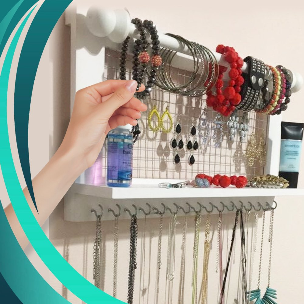 Hanging Jewelry Organizer | Wall Mounted Wooden Holder for Necklace, Earrings, Bracelets, Rings & Other Accessories | With Hooks, Shelf, Wire Grid & Removable Bar | 17.5'' x 10'' Size | White by Jewelry Display (Image #4)