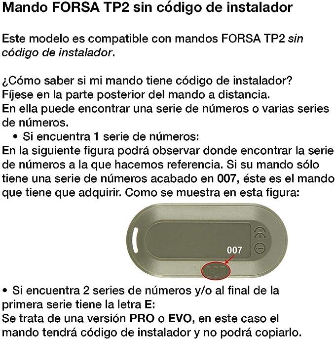 FORSA TP2 Mando Garaje Frecuencia 868 MHz V/álido Puertas de Garaje Forsa