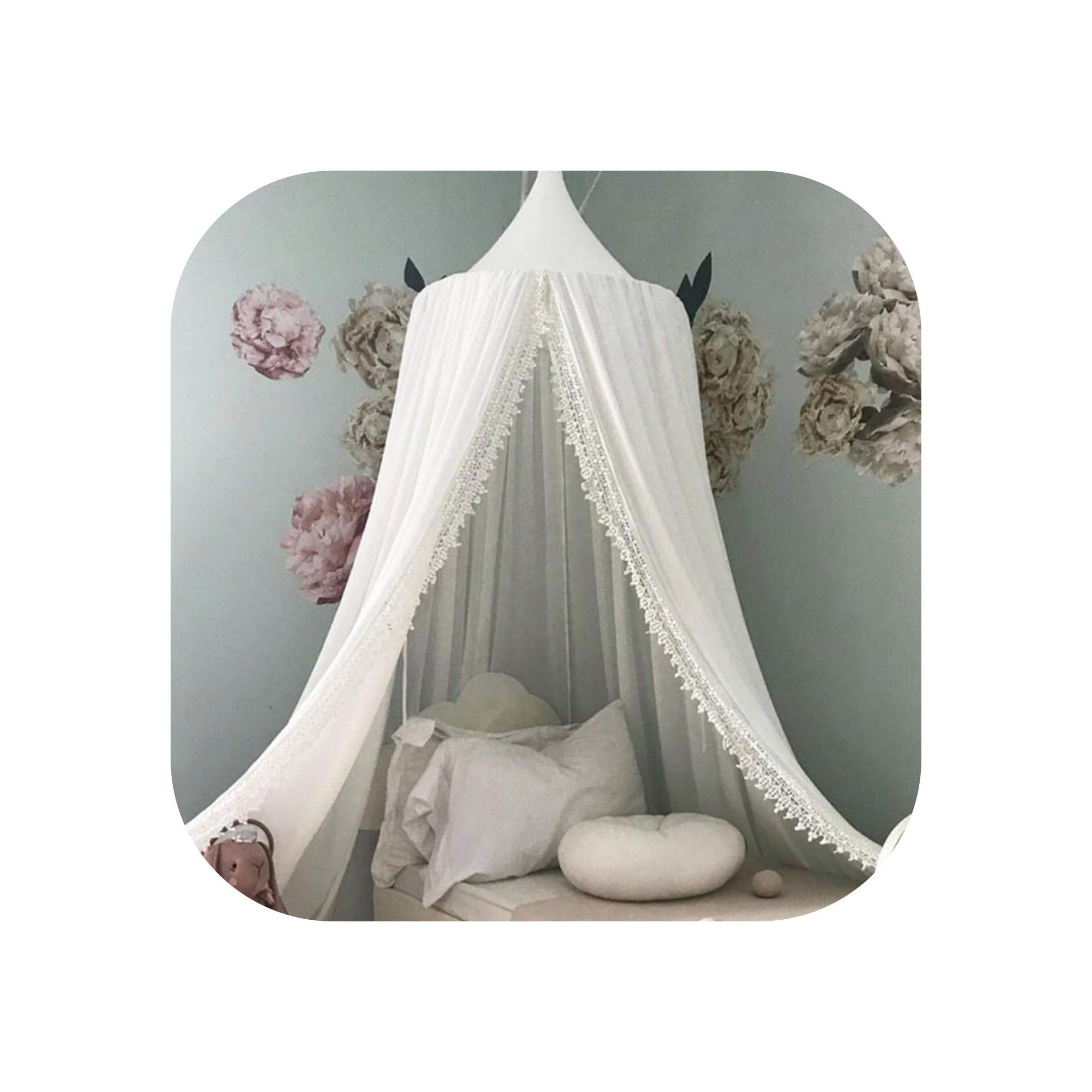 Crib Netting Chiffon Kids Bed Curtain Canopy Round Crib Netting Tent Photography Props Lace Mosquito Net Baby Room Decoration,White