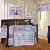 BabyFad Elephant Chevron Pink 10 Piece Baby Crib Bedding Set
